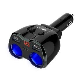 シガーソケット 増設 2連【2019最新10Aヒューズ進化版】USB(2.4A)×2ポート Type-C 急速充電 車載充電器 剛性強化 配線不要 分配器 カーチャージャー 独立スイッチ付き 電圧表示 12V/24V対応 ヒューズ交換可能 Otium ブラック