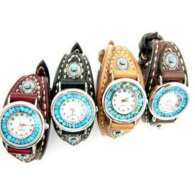 59a45e1afd [クーポン発行中] イエローストーン 腕時計 革 レザー ハンドメイド 手縫い ウォッチ クォーツ ターコイズ シルバー