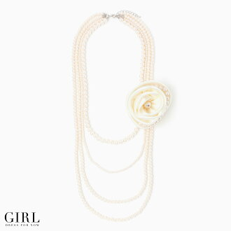 Four perfect pearl necklaces which are usable in 3way are long necklace party accessories wedding ceremony パーティアクセサリーネックレスパ - ル pearl accessory necklace mail order Lady's ladies レデイース Rakuten with the corsage