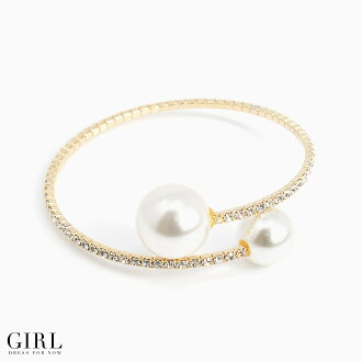 And large Pearl and rhinestone sparkle party dress shopping girl (GIRL) twist design pearl bracelet