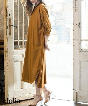結婚式シャツワンピースロング夏大きいサイズワンピースパーティードレスドレス袖あり大きいミモレ丈ゆったり小さいサイズ30代40代お呼ばれ他と被らない20代50代体型カバー袖付き長袖五分袖春二次会ゲストドレスイレギュラーヘム