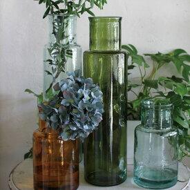 VALENCIA RECYCLE GLASS バレンシア リサイクル ガラス CUATRO フラワーベース 花瓶 水差し ボトル ガラス瓶 西海岸 グラス ライト ポプリ アンティーク