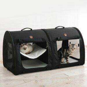 One for Pets ポータブル・ケージ オールブラック ダブル 【メッセージカード対応】 猫用 犬用 ペット用 連結可能 折りたたみケージ ハウス ペットキャリー 持ち運び ポータブル