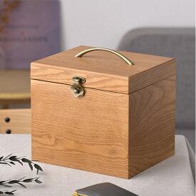 ナチュラルウッド 横型 コスメボックス ワイドミラー 【ラッピング対応】 木製 メイクボックス コスメティック 鏡 北欧 ナチュラル おしゃれ シンプル 化粧品 収納