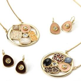 キュービックジルコニア アンティーク ロングネックレス&ピアスセット|プレゼント|ギフト|necklace|pierce|夏|サマー|アクセサリー|