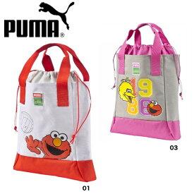 プーマ PUMA バッグ 子供 ジュニア トートバッグ ショッピングバッグ グレー セサミストリート エルモ ビッグバード ショッパー 073834