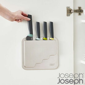 Joseph Joseph ジョセフジョセフ ドアストア ナイフ 4ピースセット 包丁 4本セット 包丁セット ナイフセット 収納ケース付き 調理器具 三徳包丁 万能包丁 ペティナイフ キッチンツール 壁面収納 両面テープ付き