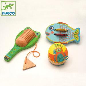 楽器 木製 おもちゃ 赤ちゃん DJECO ジェコ 3 パーカッションセット シンバル カスタネット ギロ キッズ DJ06020 子供 知育玩具 3歳 4歳 打楽器 タンバリン 音遊び 幼児 ギフト 誕生日 かわいい お