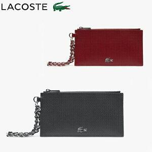 LACOSTE ラコステ カードケース レディース 薄型 カードホルダー ブランド CHANTACO CHRISTMAS 鹿の子 エンボスレザー レッド/ブラック NF2964C 財布 コインケース 小銭入れ チェーン レザーストラップ