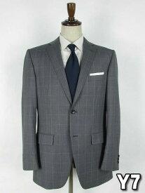 ライトグレー ウィンドウペン シングル2つボタンスーツ【2パンツ】【アウトレット価格】