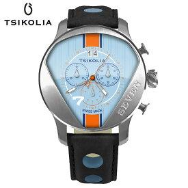 TSIKOLIA(チコリア)SEVEN BLACK PVD スティール/サックスブルー/オレンジ クロノグラフ メンズ腕時計 スイス製 ロータス/ケータハムセブン GULF ドライバーズウォッチ