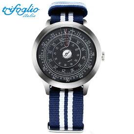 トリフォグリオ ミリメトロ (Trifoglio Italia) MILLIMETRO ML231SSBK 自動巻き 回転ディスクウォッチ 黒文字盤 メンズ腕時計 イタリア時計 ネイビー/ホワイトナイロンストラップ NATOベルト