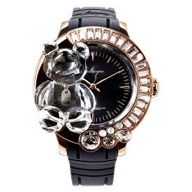 スワロフスキーのキラキラ腕時計 Galtiscopio(ガルティスコピオ)DARMI UN ABBRACCIO 熊16 ローズゴールド ブラック レザーベルト