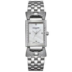 香水でお馴染みのラグジュアリーファッションブランド ROCHAS(ロシャス)のレディース腕時計 ARTDECO03 ホワイト/シルバー リボンモチーフ 白蝶貝 メタルブレスレット フレグランス