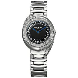 ROCHAS(ロシャス)レディース腕時計 FEATHER10 ブラック/シルバー SSブレスレット メタルブレス フェザーモチーフ パリコレ ラグジュアリーファッション フレグランス