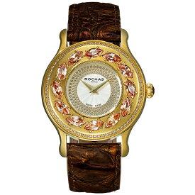 フレグランスが世界的に有名なフランスのファッションブランド ROCHAS(ロシャス)のレディース腕時計 RJ07 シルバー/ゴールド/ダークブラウン スワロフスキー ゴージャス ラグジュアリー
