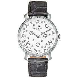フレグランスが世界的に有名なフランスのファッションブランド ROCHAS(ロシャス)のレディース腕時計 RJ08 ホワイト/シルバー/グレー アルファベット パリコレ 香水 スイスメイド
