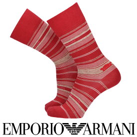 EMPORIO ARMANI エンポリオ アルマーニ日本製 ボーダー&マンガベア柄 クルー丈 メンズ カジュアル ソックス 靴下 男性 紳士 プレゼント ギフト02342351