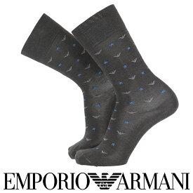 EMPORIO ARMANI エンポリオ アルマーニスーピマ綿使用 イーグル&スター クルー丈 メンズ カジュアル ソックス 靴下 男性 紳士 プレゼント ギフト02342337 公式ショップ 正規ライセンス商品