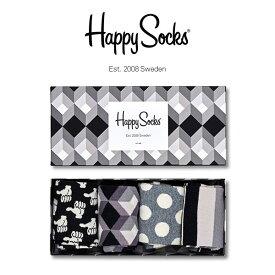 【送料無料】 Happy Socks ハッピーソックスBLACK AND WHITE ( ブラック アンド ホワイト )4足組 ギフトセット 綿混 クルー丈 ソックス 靴下 GIFT BOX ユニセックス メンズ & レディス プレゼント 贈答 ギフト1A147013ポイント10倍
