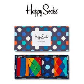 【送料無料】 Happy Socks ハッピーソックスBIG DOT MIX ( ビッグ ドット ミックス )4足組 ギフトセット 綿混 クルー丈 ソックス 靴下 GIFT BOX ユニセックス メンズ & レディス プレゼント 贈答 ギフト1A147016ポイント10倍