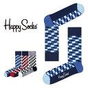 【送料無料+ポイント20倍】Happy Socks ハッピーソックスFILLED OPTIC ( フィルド オプティック )クルー丈 綿混 ソ…