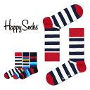 【送料無料+ポイント20倍】Happy Socks ハッピーソックスSTRIPE ( ストライプ )クルー丈 綿混 ソックス 靴下ユニセ…