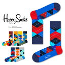 【セール!40%OFF】Happy Socks ハッピーソックスARGYLE ( アーガイル )クルー丈 綿混 ソックス 靴下ユニセックス レディース【プレゼント 贈答 ギフト】11113001