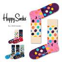 セール!40%OFFHappy Socks ハッピーソックスBIG DOT BLOCK ( ビッグ ドット ブロック )クルー丈 綿混 ソックス 靴…