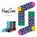 送料無料 【セール!40%OFF】Happy Socks ハッピーソックスJUNK FOOD HAMBURGER ( ハンバーガー )クルー丈 綿混 ソ…