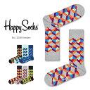 【送料無料+ポイント20倍】Happy Socks ハッピーソックスOPTIC SQURE ( オプティック スクエア )クルー丈 綿混 ソッ…