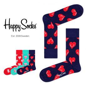 【ポイント20倍】Happy Socks ハッピーソックスSMILEY HEART ( スマイリー ハート )クルー丈 綿混 ソックス 靴下ユニセックス メンズ & レディスプレゼント 贈答 ギフト1A113029