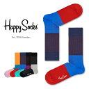 Happy Socks ハッピーソックスBLOCK RIB ( ブロック リブ )クルー丈 綿混 ソックス 靴下ユニセックス メンズ & レ…