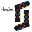 【ポイント20倍】Happy Socks ハッピーソックスCAT ( キャット )クルー丈 綿混 ソックス 靴下 ユニセックス メンズ & レディスプレゼント 贈答 ギフト1A113039
