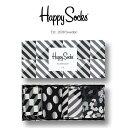 【送料無料+ポイント20倍】Happy Socks ハッピーソックスSEASONAL BLACK & WHITE ( シーズナル ブラック & ホワイト )4足組 ギフトセット 綿混 クルー丈 ソックス 靴下 GIFT BOX ユニセックス メンズ & レディス 1A143004