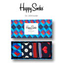 【送料無料+ポイント20倍】Happy Socks ハッピーソックスNAVY ( ネイビー )4足組 ギフトセット 綿混 クルー丈 ソッ…