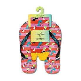 セール!45%OFFHappy Socks ハッピーソックス【Limited】 Happy Socks × Havaianas ( ハワイアナス )NATURE SET ( ネイチャー セット )ビーチサンダル & クルー丈 ソックス セット ユニセックス メンズ & レディス18153003