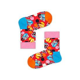 【ポイント20倍】Happy Socks ハッピーソックス【Limited】 Happy Socks × The Rolling Stones ( ローリングストーンズ )Big Licks ( ビッグ リックス )子供 クルー丈 ソックスKIDS ジュニア キッズ 12213002