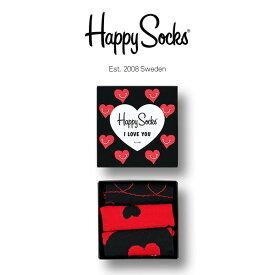 【送料無料】 Happy Socks ハッピーソックスI LOVE YOU ( アイラブユー )3足組 ギフトセット 綿混 クルー丈 ソックス 靴下 GIFT BOX レディース 女性 婦人【プレゼント 贈答 ギフト】11443003
