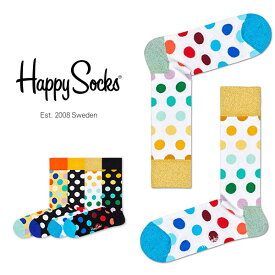 送料無料 Happy Socks ハッピーソックスBIG DOT ( ビッグ ドット )クルー丈 綿混 ソックス 靴下レディース 女性 婦人【プレゼント 贈答 ギフト】11113005