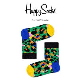 Happy Socks ハッピーソックスLEOPARD ( レオパード )子供 クルー丈 綿混 ソックス 靴下KIDS ジュニア キッズ 12113019