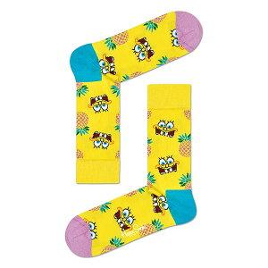 セール!44%OFFハッピーソックスLimitedHappy Socks × Sponge Bob ( スポンジ・ボブ ) FINEAPPLE SURPRISE ( ファイナップル サプライズ )クルー丈 ソックス 靴下ユニセックス メンズ プレゼント 贈答 ギ