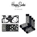 セール!41%OFFHappy Socks ハッピーソックス CLASSIC BLACK & WHITE ( クラシック ブラック アンド ホワイト )4足…