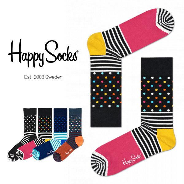【送料無料+ポイント10倍】Happy Socks ハッピーソックスSTRIPE & DOT ( ストライプ & ドット )クルー丈 綿混 ソックス 靴下ユニセックス メンズ & レディス h605023ホワイトデー お返し プレゼント