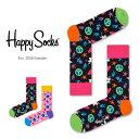 【送料無料+ポイント20倍】Happy Socks ハッピーソックスPEACE & LOVE ( ピース & ラブ ) クルー丈 綿混 ソックス …