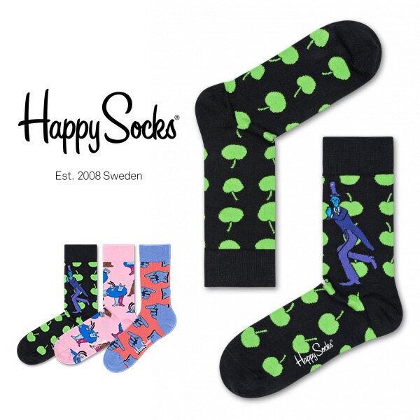 【送料無料+ポイント20倍】Happy Socks ハッピーソックスYELLOW SUBMARINE ( イエローサブマリン )【Limited】 Happy Socks × The Beatles綿混 クルー丈 ソックス 靴下ユニセックス h605536