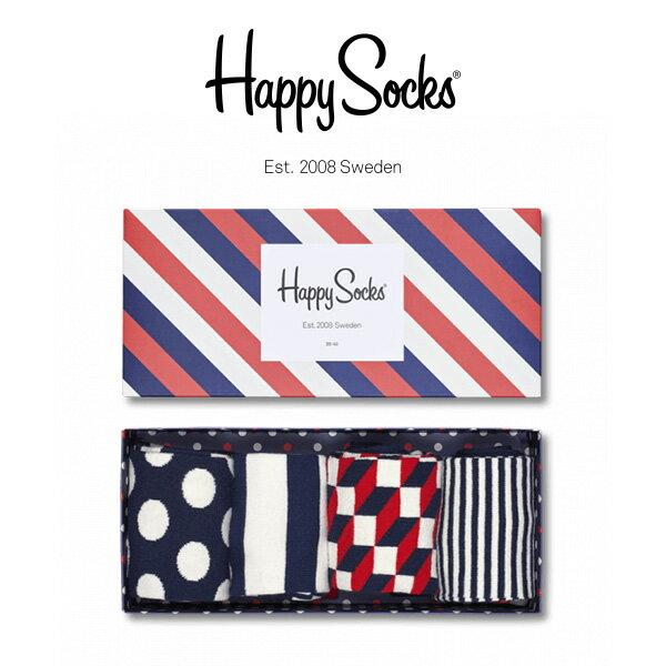 【送料無料+ポイント20倍】Happy Socks ハッピーソックスSTRIPE ( ストライプ ) 4足組 ギフトセット 綿混 クルー丈 ソックス 靴下 GIFT BOX ユニセックス メンズ & レディス h605905