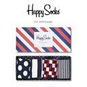 Happy Socks ハッピーソックスSTRIPE ( ストライプ ) 4足組 ギフトセット 綿混 クルー丈 ソックス 靴下 GIFT BOX ユ…