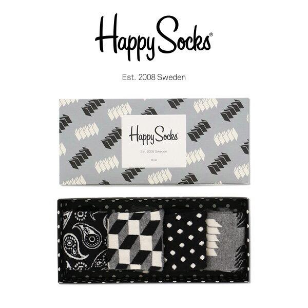 【送料無料+ポイント20倍】Happy Socks ハッピーソックスACCORDION ( アコーディオン) 4足組 ギフトセット 綿混 クルー丈 ソックス 靴下 GIFT BOX ユニセックス メンズ & レディス h605908