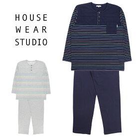 HOUSE WEAR STUDIO (ハウス ウェア スタジオ) コットン100% パジャマ 長袖 パンツ マルチボーダー柄 Lサイズ メンズ 男性 紳士73378607